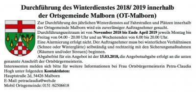 Vorschaubild zur Meldung: Durchführung des Winterdienstes 2018/ 2019 innerhalb der Ortsgemeinde Malborn (OT-Malborn)