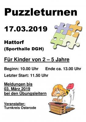 Vorschaubild zur Meldung: Puzzleturnen am 17.03.2019 in Hattorf