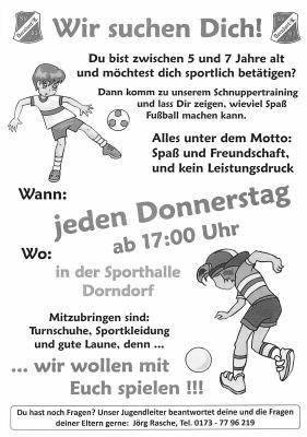 Vorschaubild zur Meldung: Schnuppertraining des Dorndorfer SV 03 e.V.
