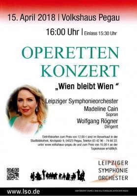 Vorschaubild zur Meldung: Operettenkonzert  -  Wien bleibt Wien    15 April im Volkshaus