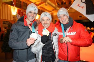Die Breitnauer Olympiahelden (v.l.n.r.) Stephan Leyhe, Fabian Rießle und Bendikt Doll - Foto: Joachim Hahne