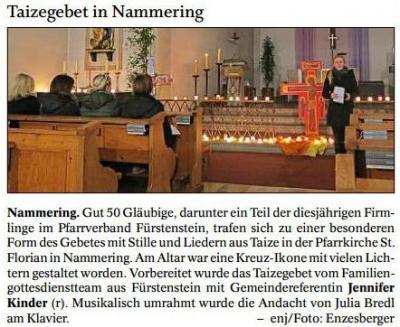 Vorschaubild zur Meldung: Taizegebet in Nammering