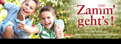 Vorschaubild zur Meldung: Zamm' geht's! Frühjahrsputz auf Oberfrankens Kinderspielplätzen