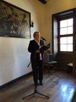 Frau Hunstock, Vorsitzende der VG Hainich-Werratal, bei Ihrer Ansprache