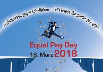 Foto zur Meldung: EQUAL PAY DAY: Lichtbrücken gegen Lohnlücken - Let's bridge the gender pay gap!