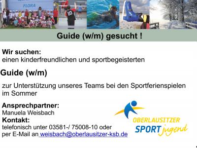 Foto zur Meldung: Guide (w/m) für die Betreuung der Sportferienspiele gesucht!