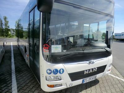 Busfahren – auch mit Mobilitätseinschränkungen- ist einfacher als gedacht. Mobilitätsberater Tobias Schäfer führt vor, wie es richtig gemacht wird. In dieser Woche finden noch zwei weitere kostenfreie Mobilitätstrainings in OSL statt. (Foto: Landkreis)