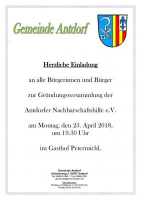 Foto zu Meldung: Gründungsversammlung der   Antdorfer Nachbarschaftshilfe e.V.