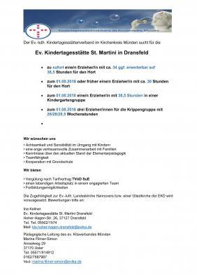 Vorschaubild zur Meldung: Stellenausschreibung St. Martini Kindergarten Dransfeld