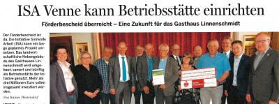 Artikel im Wittlager Kreisblatt vom 21.04.2018