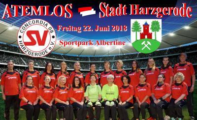 Foto zur Meldung: Die Stadt Harzgerode ( Verwaltung, Ortschaft- u. Stadtsräte ) nimmt die Herausforderung unserer Frauenmannschaft ATEMLOS an