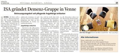 Artikel im Wittlager Kreisblatt vom 13.03.2018