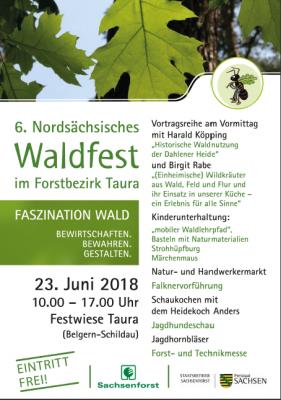 Vorschaubild zur Meldung: 6. Nordsächsisches Waldfest am 23. Juni 2018 von 10:00 - 17:00 Uhr auf der Festwiese in Taura