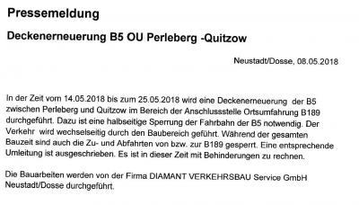 Foto zur Meldung: Sperrung in Perleberg