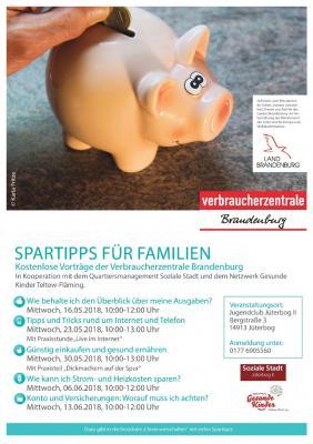 Plakat - Spartipps für Familien