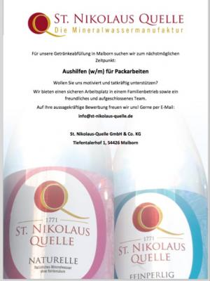 Vorschaubild zur Meldung: St. Nikolaus Quelle: Aushilfen (w/m) für Packarbeiten
