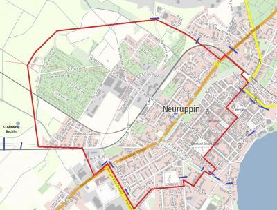 Falls erforderlich: Der geplante Sperrkreis (in rot) und Straßensperrungen (in blau) am 24.05.