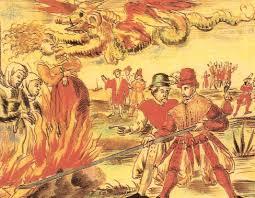 Zeichnung von einer Hexenverbrennung im Mittelalter