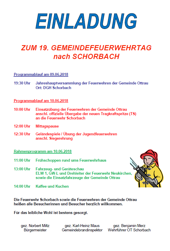 Ottrau Einladung Zum 19 Gemeindefeuerwehrtag Nach Schorbach