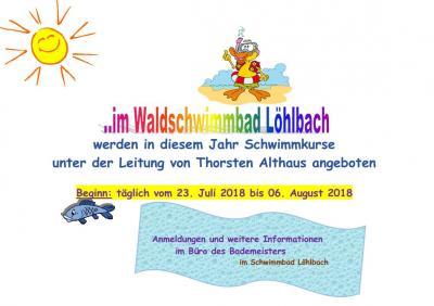 Foto zu Meldung: NEU NEU NEU ab dem 23.07.2018 Schwimmkurse im Waldschwimmbad