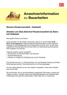 Vorschaubild zur Meldung: Arbeiten am Gleis Bahnhof Klostermansfeld bis Bahnhof Hettstedt