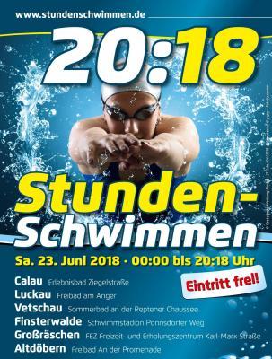 Plakatmotiv für das Stundenschwimmen 20:18. Grafik: PR