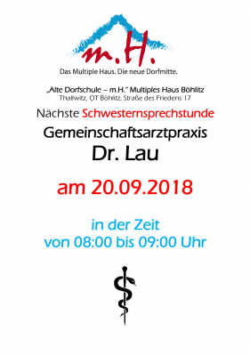 """Vorschaubild zur Meldung: Schwesternsprechstunde im Multiplen Haus Böhlitz """"Alte Dorfschule - m.H."""""""