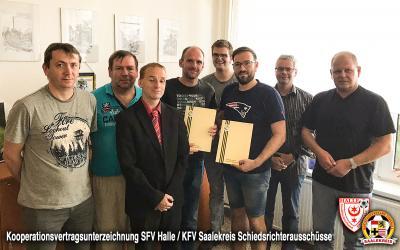 Vorschaubild zur Meldung: Unterzeichnung Kooperationsvereinbarung SFV Halle/KFV Saalekreis