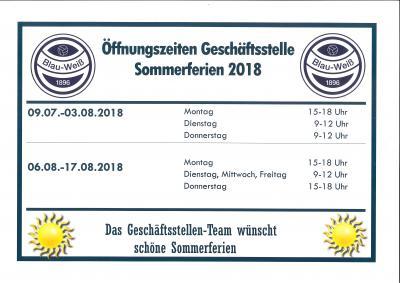 Vorschaubild zur Meldung: Öffungszeiten Geschäftsstelle Sommerferien 2018