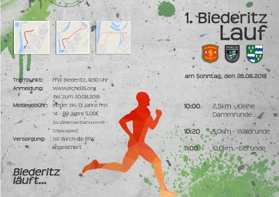 """Vorschaubild zur Meldung: Am 26.08.18 findet der """"1. Biederitz Lauf"""" für Jedermann statt"""
