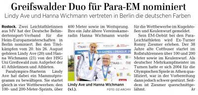 Lindy Ave und Hanna Wichmann nominiert für Para-EM