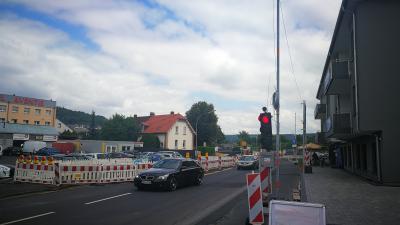 """Foto zu Meldung: Kreisverkehr: Vollsperrung der L 3194 """"Am Bahnhof"""" Ecke Brückenstraße mit Verkürzung der Bauzeit"""