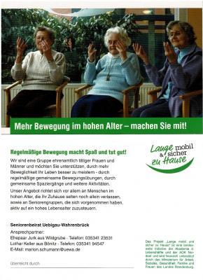 Foto zur Meldung: Netzwerk Lange mobil und sicher zu Hause Mehr Bewegung im hohen Alter