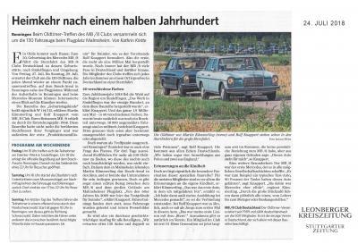 Kreiszeitung Leonberg vom 24.Juli 2018