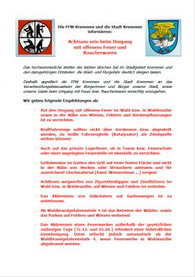 Die FFW Kremmen und die Stadt Kremmen informieren