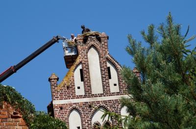 Foto zur Meldung: Neues Storchennetz auf dem Kirchturm der Lindenaer Kirche