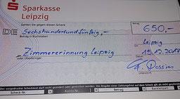 Foto zu Meldung: Zimmerer-Innung Leipzig übergibt Spende in Höhe von 650 EUR