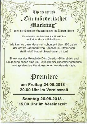 Vorschaubild zur Meldung: Theaterstück zum Dittersbacher Jahrmarkt