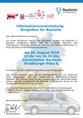 Foto zu Meldung: Informationsveranstaltung:  Bürgerbus für Nauheim