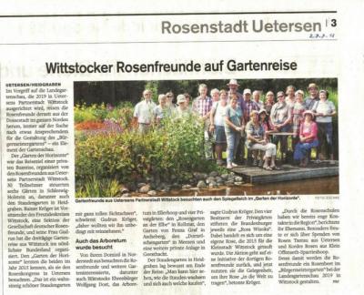 Foto zur Meldung: Unsere Gartenreise in den Uetersener Nachrichten