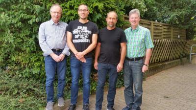 von links: Günter Schmitt, Andreas Schwalm, Bernd Itzenhäuser und Bürgermeister Klemens Olbrich