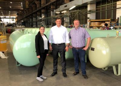 Foto zu Meldung: Bürgermeister und TGZ Geschäftsführung besuchten STAG Genthin