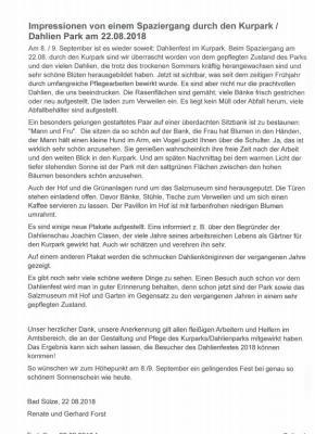 Vorschaubild zur Meldung: Besucherbrief zur Positiven Veränderungen im Dahlien-Park und Hinweis auf Sendetermin im NDR