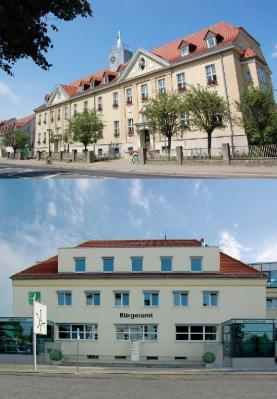 Unser Bild zeigt das Falkenseer Rathaus und das städtische Bürgeramt