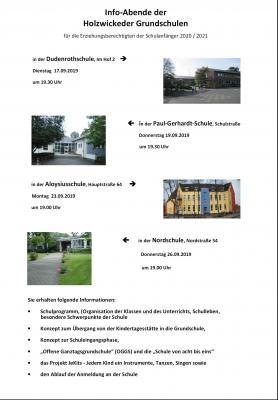 Vorschaubild zur Meldung: Info-Abende der Holzwickeder Grundschulen für Schulanfänger 2020/2021