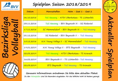 Spielplan Saision 2018/2019
