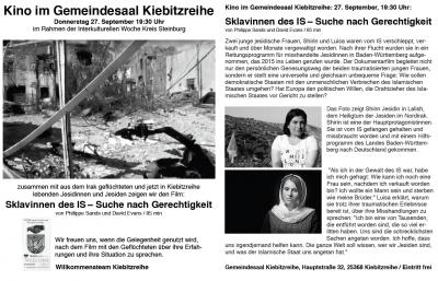 Vorschaubild zur Meldung: Kino im Gemeindesaal am 27.9.2018 - 19:30 Uhr: Sklavinnen des IS - Suche nach Gerechtigkeit
