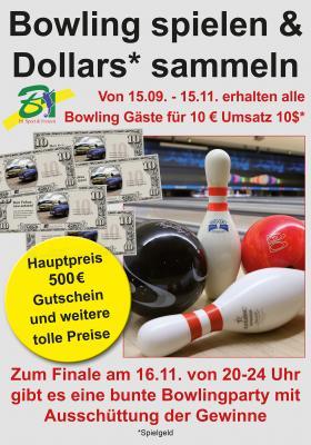 Foto zur Meldung: Bowling spielen, Dollars sammeln und Gewinnen