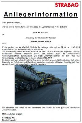 Vorschaubild zur Meldung: Anliegerinformation zur Baumaßnahme Ortsdurchfahrt Wainsdorf