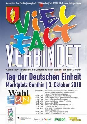 """Foto zur Meldung: Fest zum """"Tag der Deutschen Einheit"""" am 3. Oktober 2018 als Abschluss der Interkulturellen Woche Genthin"""